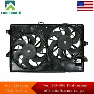 Dual Radiator A c Air Conditioning Cooling Fan For 95 02 Contour Cougar Mystique