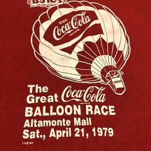 Great Balloon Race Coca Cola T Shirt Adult S Red Hot Air Balloon Vintage 80s USA