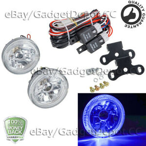 Clear Led Fog Lights Lamps Universal 4 Round Blue Halo Chrome Housing Drl Lamp