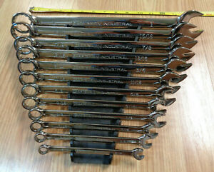 Usa Made Craftsman Industrial Polished 12 Pc Sae Inch Combination Wrench Set