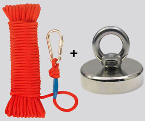 Upto 1900lb Fishing Magnet Kit Strong Neodymium Pull Force With Rope