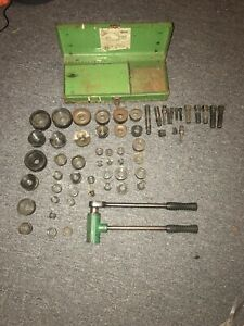 Huge Lot Greenlee 1804 Ratchet Knockout Puller Driver Conduit Punch Die Set