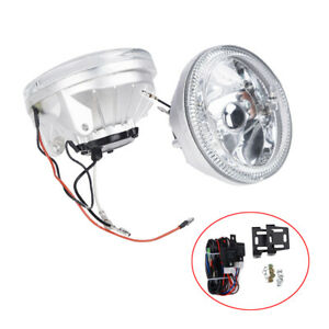 Clear Lens Led Fog Lights Lamps Universal 4 Round White Halo Chrome Housing