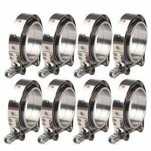 8x 3 5 Universal Exhaust V Band Flange Clamp Kit Male Female Turbo Downpipes