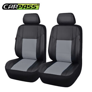 New Arrival Universal Pu Leather Two Fronts Black With Grey Car Seat Covers Sets