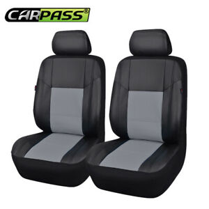 Car Pass Car Seat Cover New Arrival Universal Pu Leather 2 Front Black With Grey