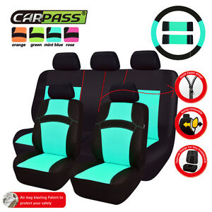 Car Seat Covers Breathable Sandwich Mint Blue Car Accessories For Universal Cars