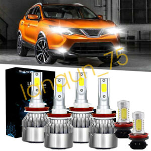 For Nissan Rogue 2014 2020 Combo Led Headlights High Low Beam Fog Lights White