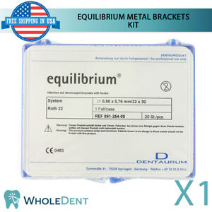 Orthodontic Dental Equilibrium Metal Brackets Braces Kit Roth Dentaurum 20pcs
