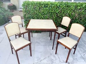 Vintage Leg O Matic Lorraine Table 4 Folding Chairs For Airstream Rv Or Home
