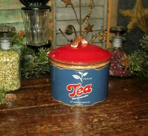 Primitive Antique Vtg Tin Can Style Tea Canister Stoneware Ceramic Crock As Is