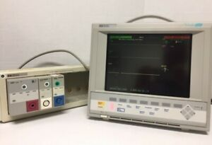 Hp Viridia 24c Patient Monitor M1205a 1204a With Module Rack M1041a Nbp Ecg Spo2
