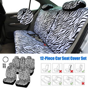12 Car Seat Cover Zebra Textured Steering Wheel Cover Shoulder Guard Front