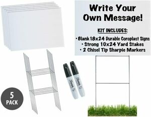 18x24 Durable Blank White Yard Sign Kit 3 5 10 Or 50 W Stakes free Sharpies
