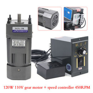 110v 120w Ac Gear Motor Electric variable Speed Reduction Controller 450 Rpm 1 3