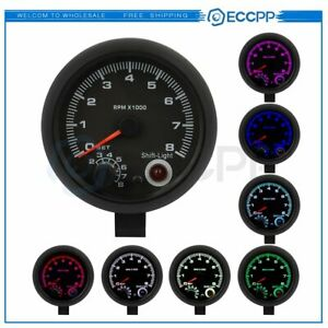 Universal Car Tachometer Tacho Gauge Meter Shift 7 Colors Led Light 0 8000 Rpm