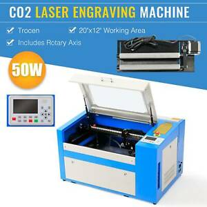 Co2 Laser Engraver 50w 20 X 12 Marking Engraving Cutting W rotary Axis Trocen