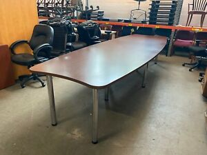 Boat Shape Conference Table In Cherry Color Laminate 12ft L