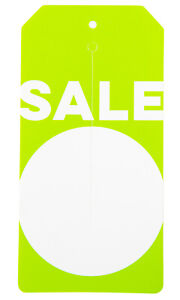 Sale Price Tag Green Modern Sale Slit Tags case Of 1 000