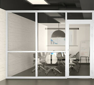 Cgp Office Partition System Glass Aluminum Wall 9 x9 W door White Semi