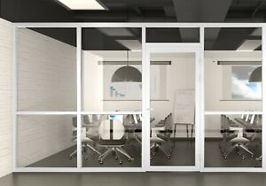 Cgp Office Partition System Glass Aluminum Wall 11x9 W door White Semi