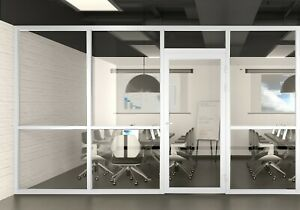 Cgp Office Partition System Glass Aluminum Wall 13x9 W door White Semi