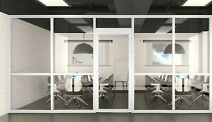 Cgp Office Partition System Glass Aluminum Wall 19 x9 W door White Semi