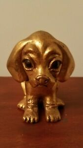 Vintage Anthony Freeman McFarlin Gold Leaf Ceramic Big Eyes Puppy Sign R.Hetrick
