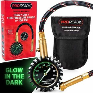 Proready Low Air Pressure Tire Gauge Glowing Dial 100 Psi Max New