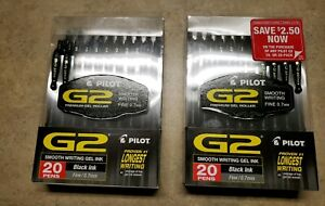 Pilot G2 Black Fine 0 7mm 2x20 Pack Gel Ink Pens