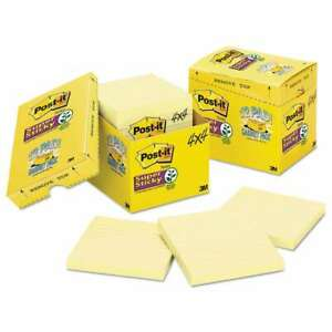 Post it Notes Super Sticky Canary Yellow Note Pads Lined 4 X 4 051131945920