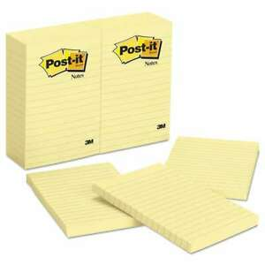 Post it Notes Original Pads In Canary Yellow Lined 4 X 6 100 021200662850