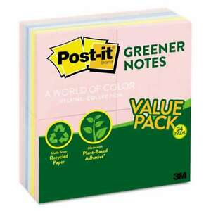 Post it Greener Notes Recycled Note Pads 3 X 3 Assorted Helsin 051141931371