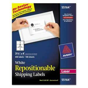 Avery Repositionable Shipping Labels Inkjet laser 3 1 3 X 4 W 072782551643