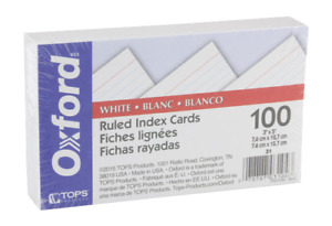 Oxford 31 3 X 5 Ruled Index Cards White 100 pack 1 Pack