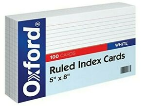 Oxford 51 5 X 8 Ruled Index Cards White 100 pack 1 Pack