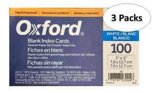Oxford 30 3 X 5 Blank Index Cards White 100 pack 3 Packs