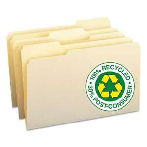 Smead 100 Recycled File Folders 1 3 Cut One ply Top Tab Lega 086486153393