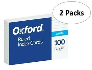 Oxford 41 4 X 6 Ruled Index Cards White 100 pack 2 Pack