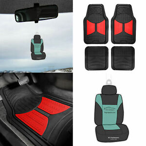 Black Red 2 Tone Floor Mats For Car Suv All Weather W Free Freshener