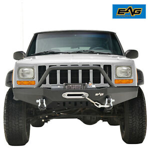 Eag Fits 84 01 Jeep Cherokee Xj Front Bumper W Winch Plate D ring Shackle