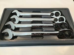 Blue Point By Snap On Boerm704 4pc Metric Ratcheting Combination Wrench Set Nice