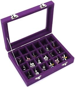 Jewelry Box Necklace Ring Earring Organizer Case Velvet 24 Section Purple