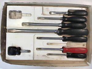 Snap On Sdx110 8 Pc Vintage Black Red Hard Handle Combo Screwdriver Set W Tray