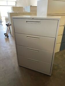 4 Drawer Lateral Size File Cabinet W Lock Key In Gray Color
