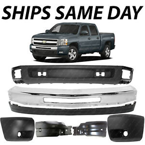 New Chrome Front Bumper Face Bar End Caps Kit For 2007 2013 Chevy Silverado 1500