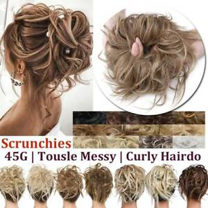 US SALE REAL Natural Scrunchies Messy Bun Wedding Party Hair Extensions Updo $7.79