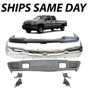 New Chrome Front Bumper Face Bar Cover Kit For 2003 2007 Chevy Silverado 1500