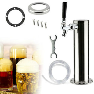 3 Double Faucets Silver Draft Beer Tower Steel Counter Top Beverage Equipments
