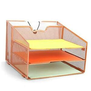 Rose Gold Desk Organizer Proaid Desktop File Tray Organizer With 4 Independent